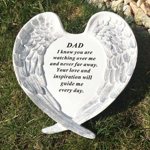 Outdoor Memorial Ornament. White Angel Wings Enfold 'Dad ... Watching Over Me'.