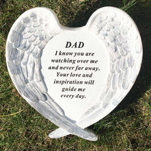 Load image into Gallery viewer, Outdoor Memorial Ornament. White Angel Wings Enfold 'Dad ... Watching Over Me'.