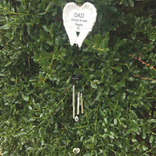 Load image into Gallery viewer, Outdoor Memorial Wind Chimes. White Angel Wings. 'DAD Always in our Hearts'.
