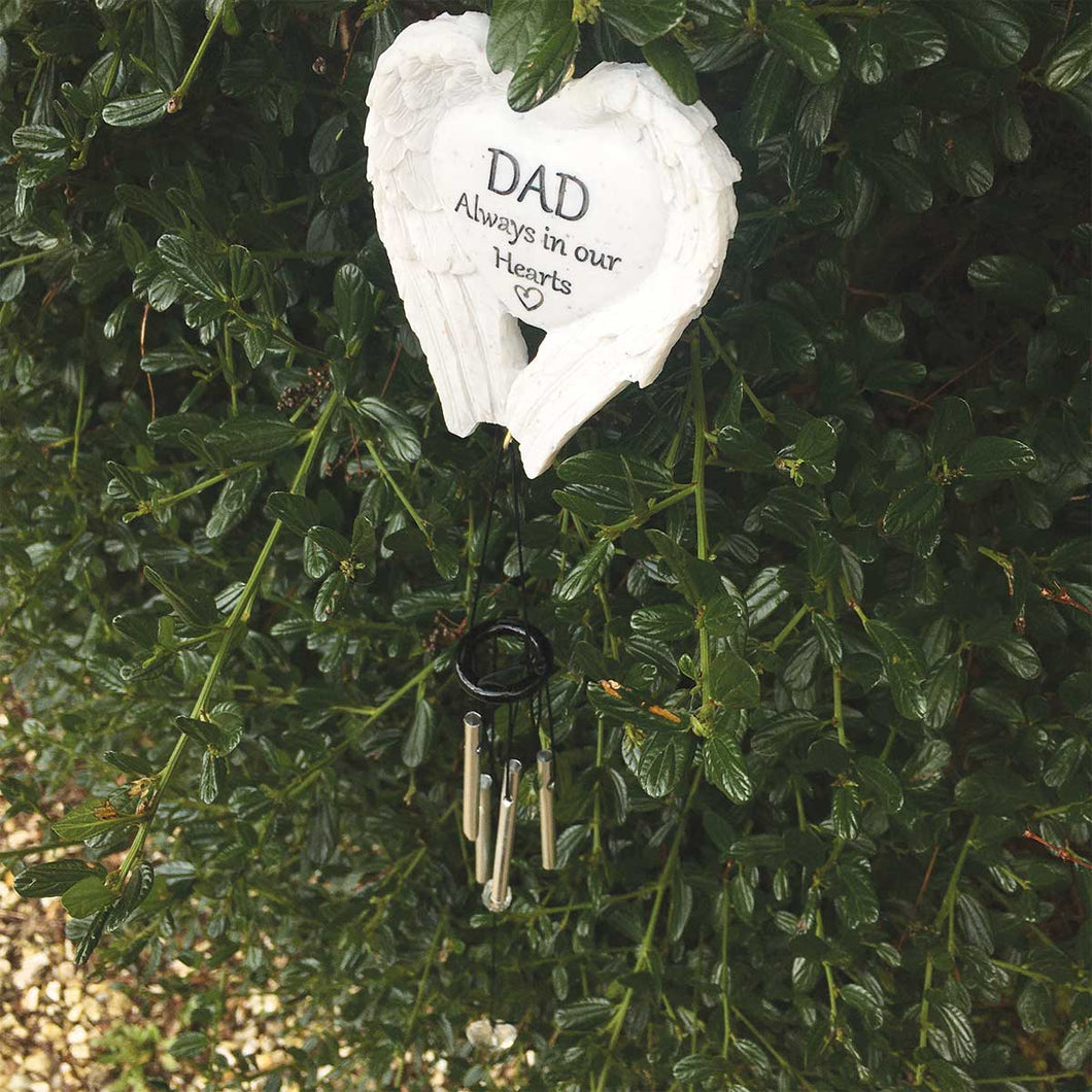 Outdoor Memorial Wind Chimes. White Angel Wings. 'DAD Always in our Hearts'.
