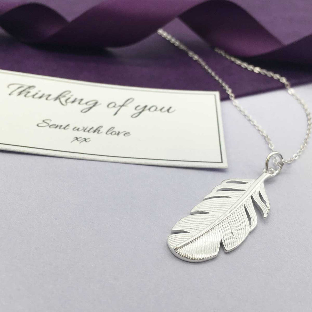 Sterling Silver Feather Memorial Necklace