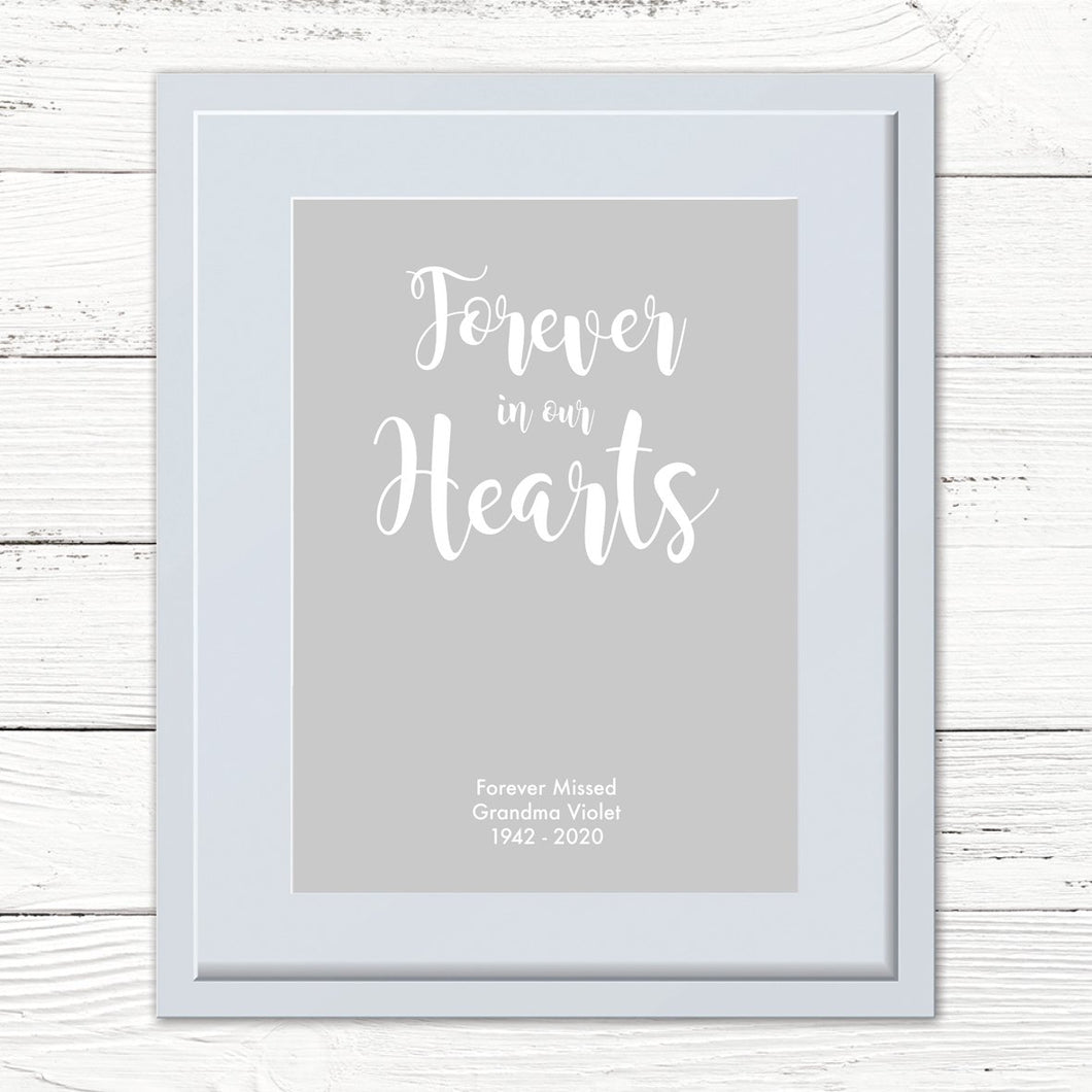 Personalised 'Forever in our hearts' Print