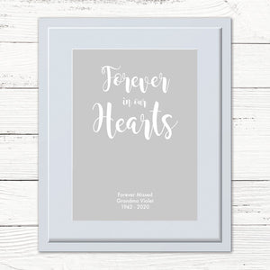 You added Personalised 'Forever in our hearts' Print to your cart.