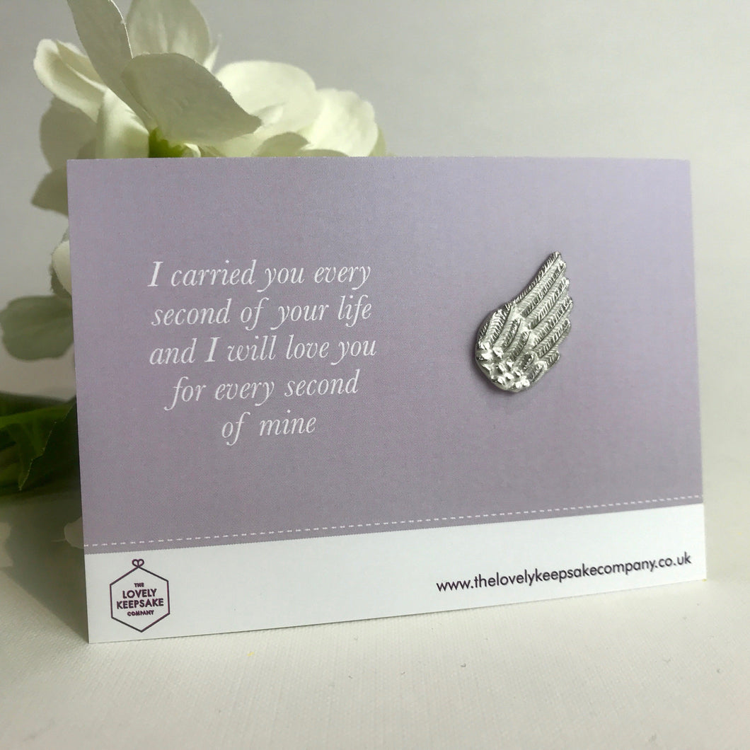 'I carried you every second of your life....' Angel Wing Token
