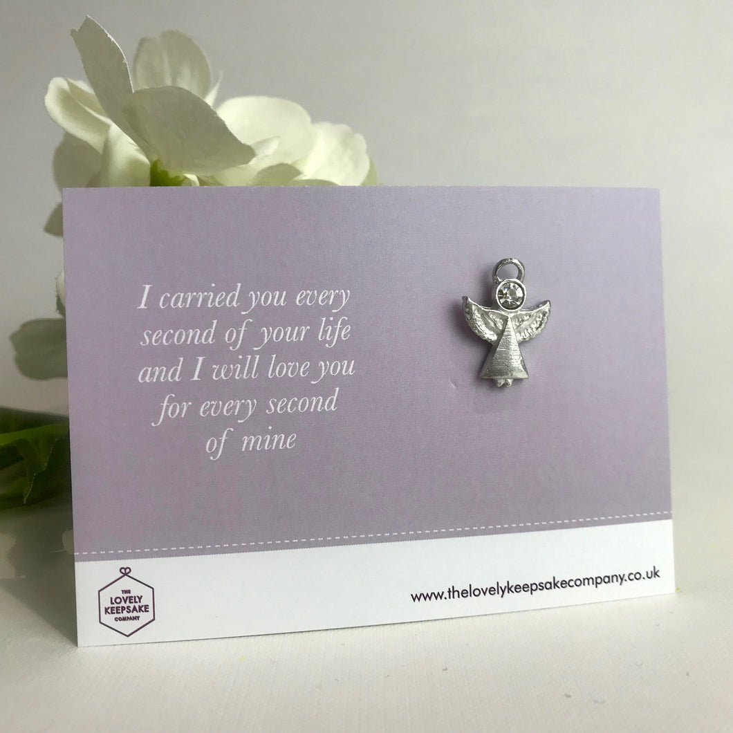 Remembrance Angel Pin Brooch with 'I carried you every second of your life and I will love you for every second of mine'  Message Card