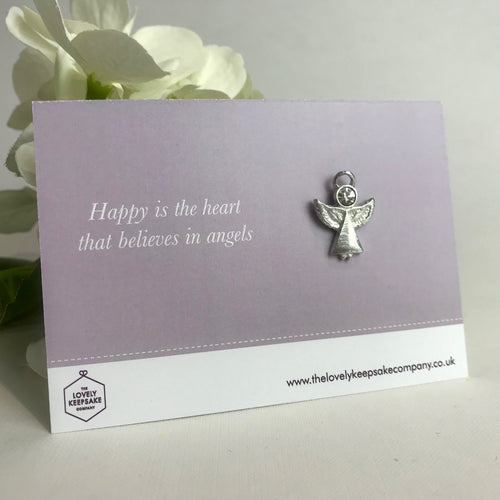 'Happy is the heart that believes in Angels' Angel Pin