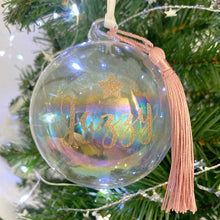 Load image into Gallery viewer, Personalised 'Any Name' Iridescent Glass Bauble