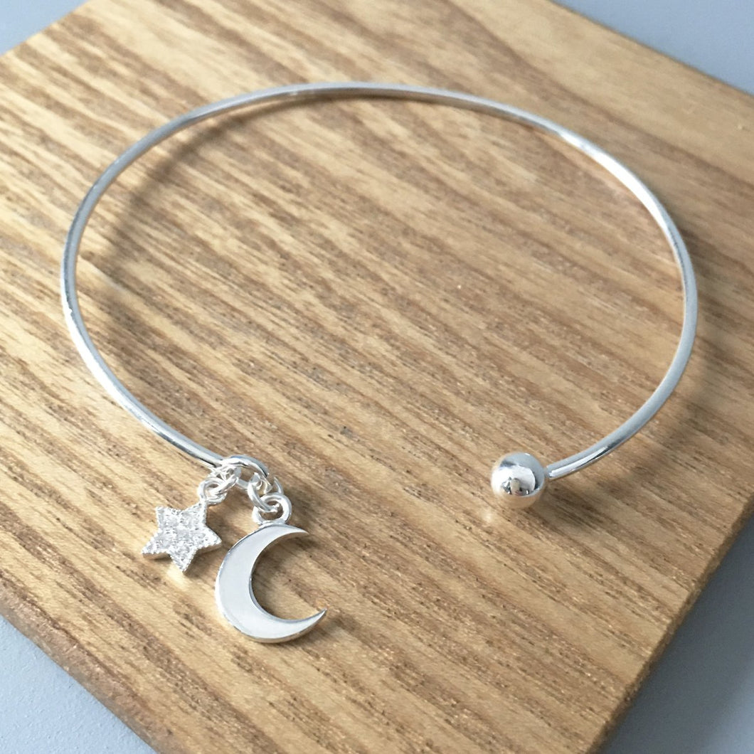Sterling Silver Moon & Star Bangle Create Your Own Personalised Gift Box