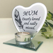 Load image into Gallery viewer, Feather Heart Mirrored Remembrance Tea Light Holder - Mum