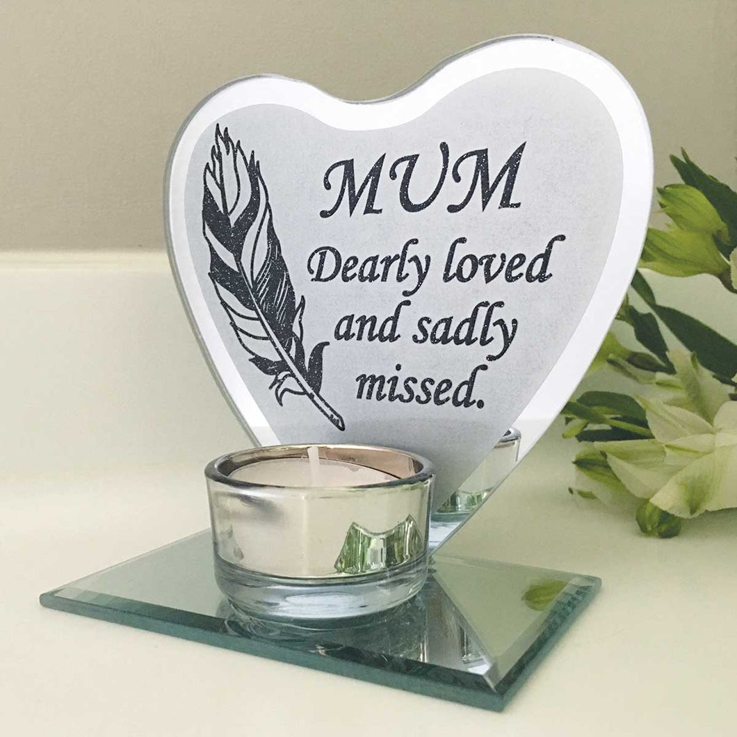 Feather Heart Mirrored Remembrance Tea Light Holder - Mum