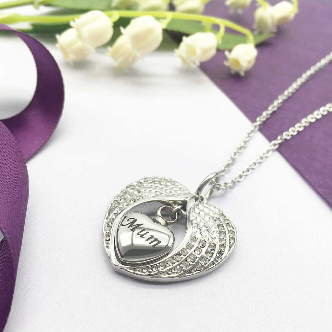 Mourning Locket for Cremation Ashes, Silver Angel Wings Surround Heart. 'Mum'