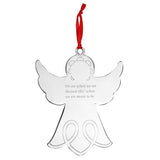 Engraved Christmas Tree Angel Decoration - Metal
