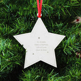 Personalised Christmas Tree Decoration, Metal Star