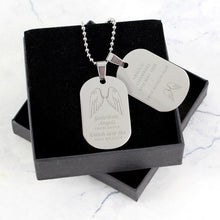 Load image into Gallery viewer, Personalised Guardian Angel Stainless Steel Double Dog Tag Necklace