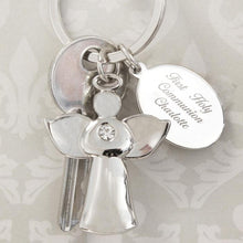 Load image into Gallery viewer, Personalised Silver Plated Angel Message Keyring