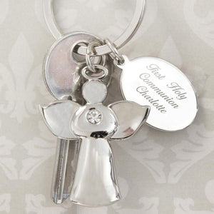 Personalised Silver Plated Angel Message Keyring