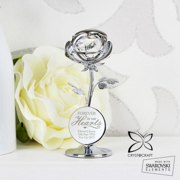 Personalised 'Forever in Our Hearts' Crystocraft Rose Ornament