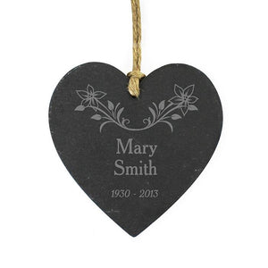 Personalised Memorial Hanging Heart, Slate with Floral Motive
