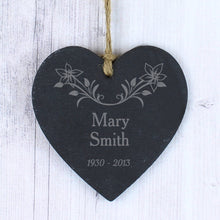 Load image into Gallery viewer, Personalised Hanging Heart Memorial Plaque, Slate with Floral Motive