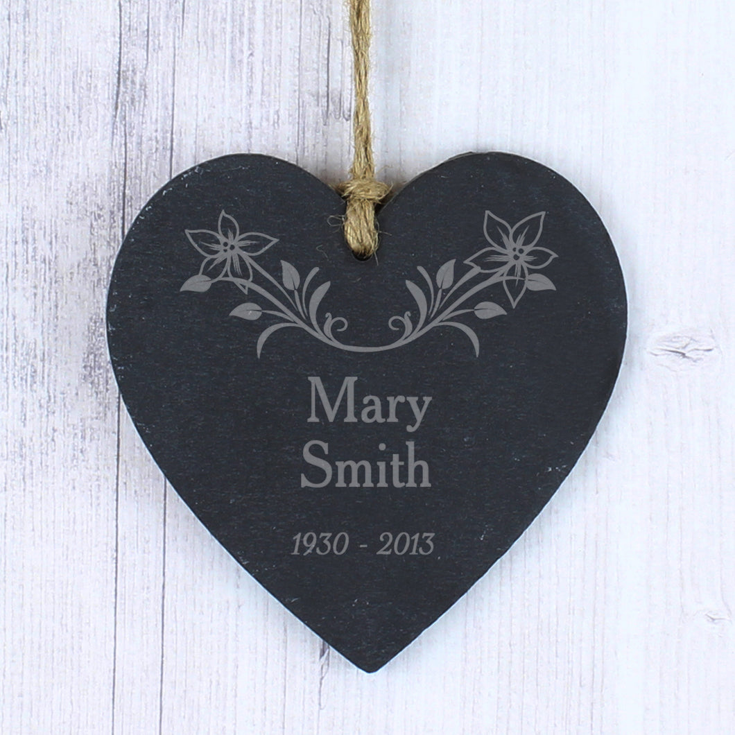 Personalised Hanging Heart Memorial Plaque, Slate with Floral Motive
