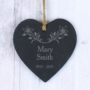 You added Personalised Hanging Heart Memorial Plaque, Slate with Floral Motive to your cart.