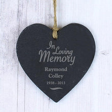 Load image into Gallery viewer, Personalised 'In Loving Memory' Slate Heart