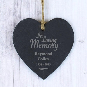 Personalised 'In Loving Memory' Slate Heart