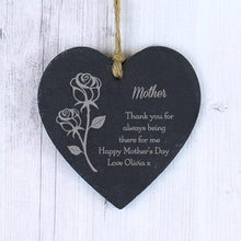 Load image into Gallery viewer, Personalised Rose Slate Heart Decoration