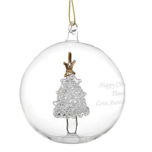 Personalised Glass Bauble with Glass Tree -side