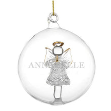 Load image into Gallery viewer, Personalised Christmas Tree Bauble, Glass with Angel - Name Only
