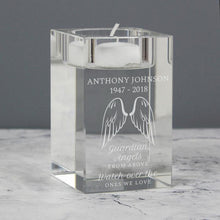 Load image into Gallery viewer, Personalised Angel Wings Glass Tea Light Candle Holder