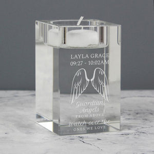 Personalised Angel Wings Glass Tea Light Candle Holder