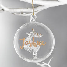 Load image into Gallery viewer, Personalised Christmas Tree Bauble, Glass with Reindeer & Gold Glitter Name