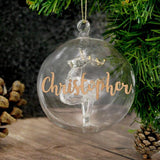 Copy of Personalised Christmas Tree Bauble, Glass with Reindeer & Gold Glitter Name