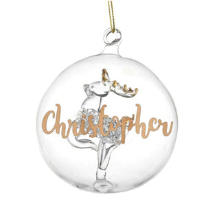 Personalised Christmas Tree Bauble, Glass with Reindeer & Gold Glitter Name