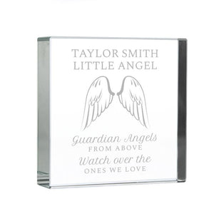 Personalised Angel Wings Large Crystal Token
