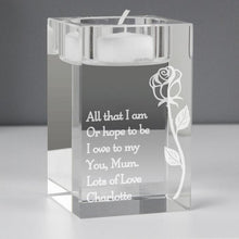 Load image into Gallery viewer, Personalised Rose Glass Tea Light Holder