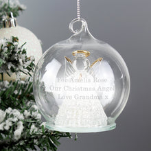Load image into Gallery viewer, Personalised Christmas Message LED Angel Bauble