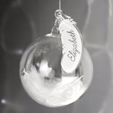 Load image into Gallery viewer, Personalised White Feather Glass Bauble