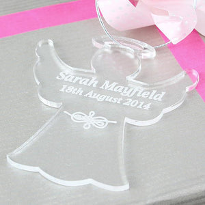 Personalised Christmas Decoration - Acrylic Angel used as a gift tag
