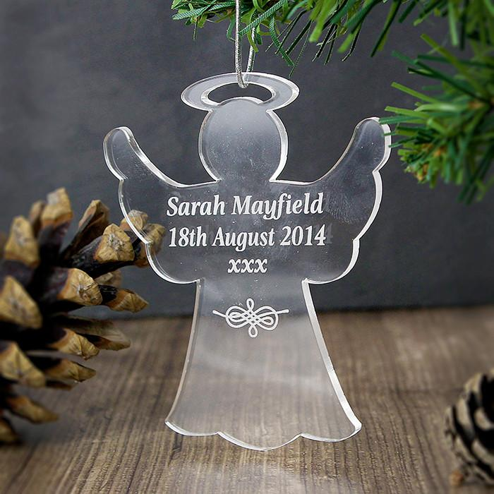 Personalised Christmas Decoration - Acrylic Angel hung on tree