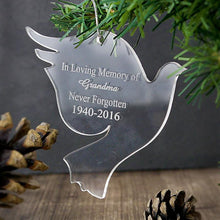 Load image into Gallery viewer, Personalised Christmas Decoration - Acrylic Dove - on tree