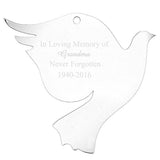 Personalised Christmas Decoration - Acrylic Dove on white