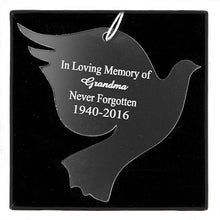Load image into Gallery viewer, Personalised Christmas Decoration - Acrylic Dove on black