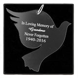 Personalised Christmas Decoration - Acrylic Dove on black