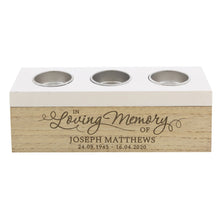 Load image into Gallery viewer, Personalised Memorial Triple Tea Light, Wooden, Trinket Box. 'In Loving Memory' .