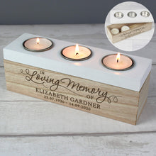 Load image into Gallery viewer, Personalised Triple Tea Light, Wooden, Trinket Box. 'In Loving Memory'