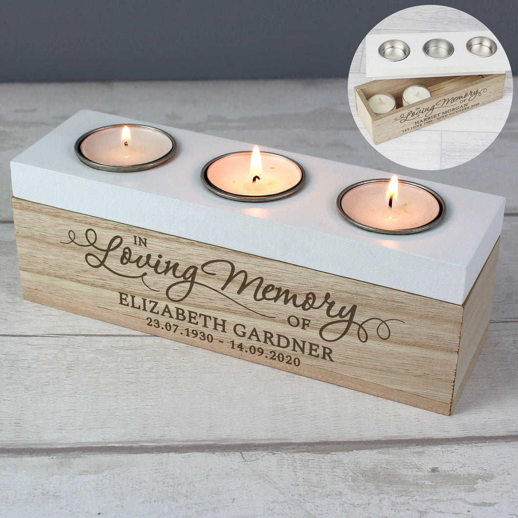 Personalised Triple Tea Light, Wooden, Trinket Box. 'In Loving Memory'