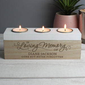 Personalised Memorial Triple Tea Light, Wooden, Trinket Box. 'In Loving Memory' .