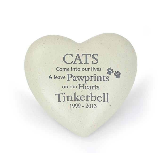 Cat Pawprints Heart Memorial